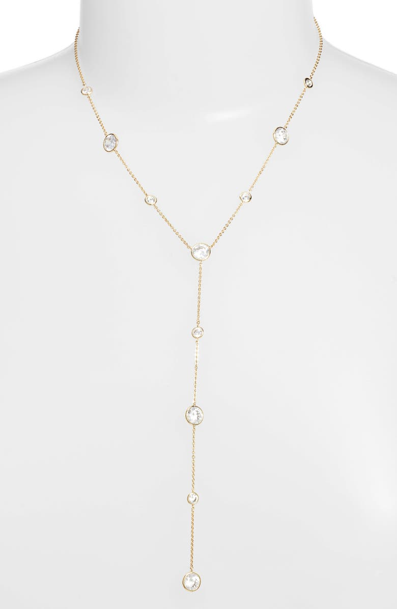 NORDSTROM Bezel Stone Station Y-Necklace, Main, color, CLEAR- GOLD
