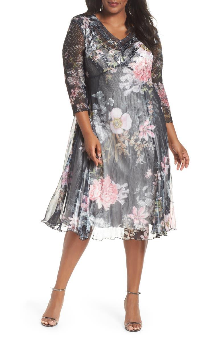 KOMAROV Kamarov Floral Charmeuse & Chiffon Floral A-Line Dress, Main, color, 001