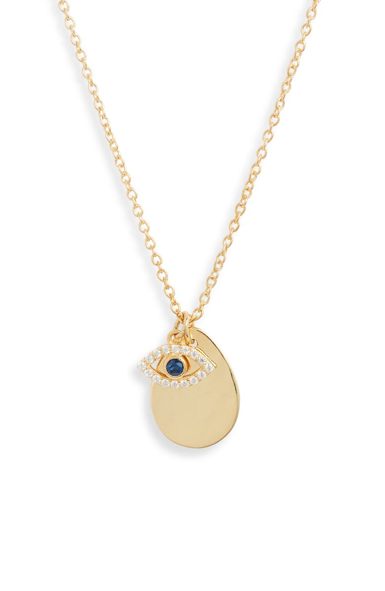 ARGENTO VIVO STERLING SILVER Argento Vivo Evil Eye Charm Cluster Necklace, Main, color, GOLD