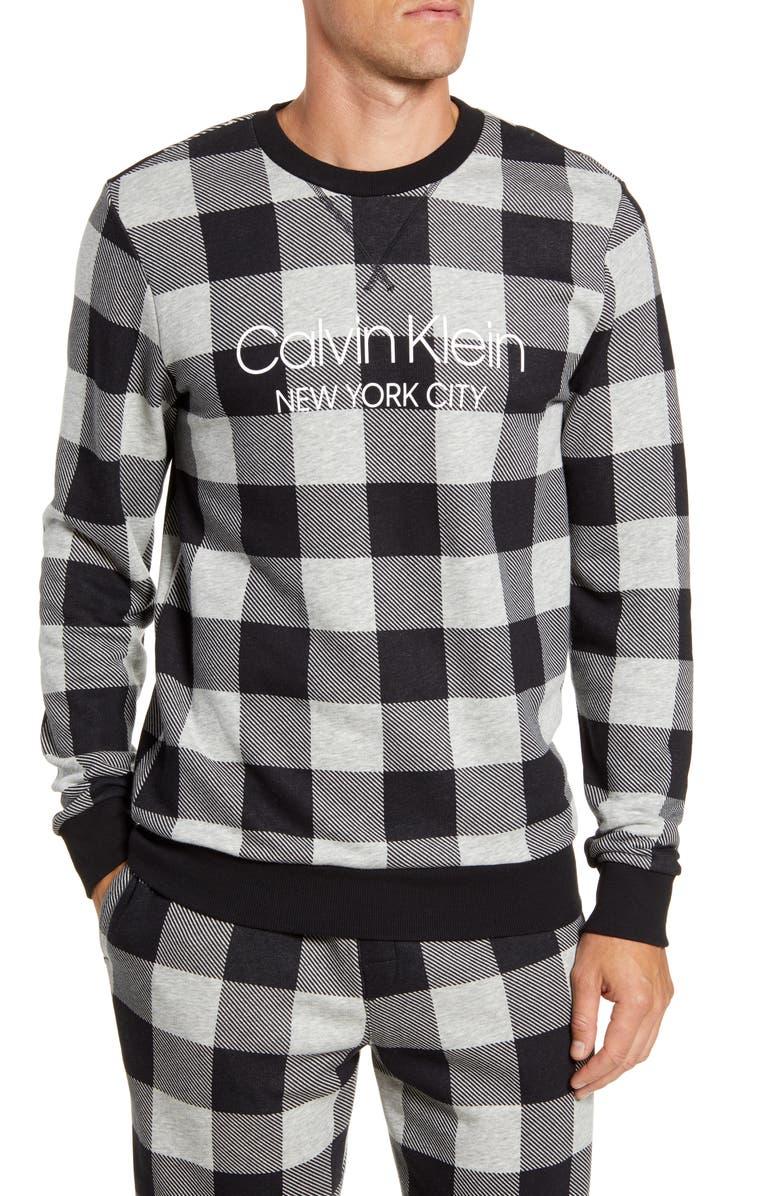CALVIN KLEIN Cotton Blend Crewneck Pajama Shirt, Main, color, BUFF CHECK GREY