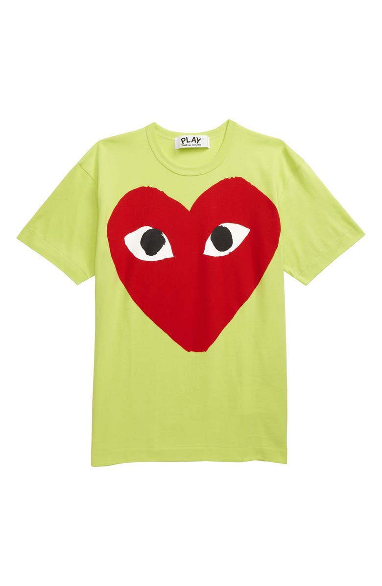 COMME DES GARÇONS PLAY Big Red Heart Neon Graphic Tee, Main, color, GREEN