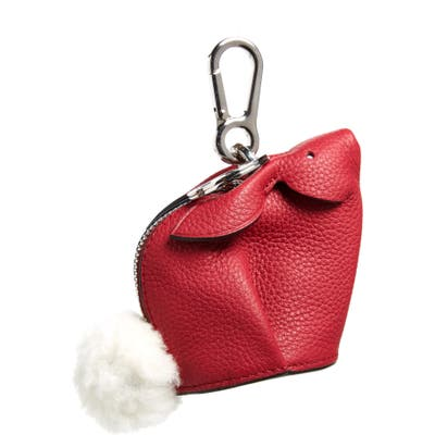 Loewe Bunny Bag Charm With Genuine Shearling - Pink
