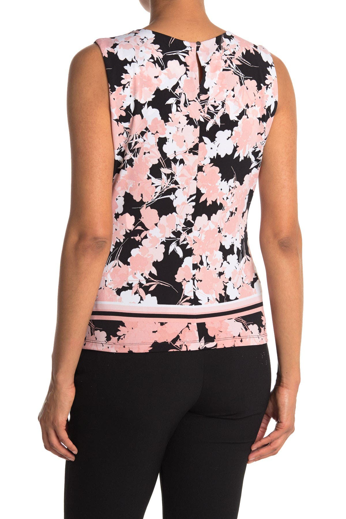 Image of Calvin Klein Pleat Neck Floral Print Border Cami