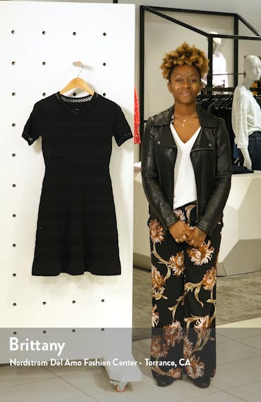 Pointelle Fit & Flare Sweater Dress, sales video thumbnail