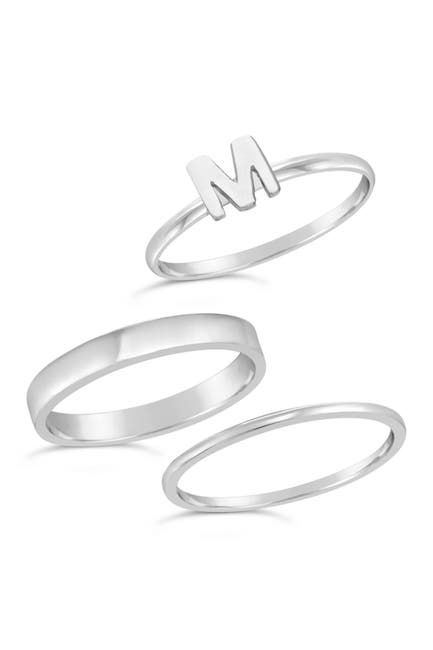 Image of Sterling Forever Sterling Silver Initial Ring - Set of 3 - M