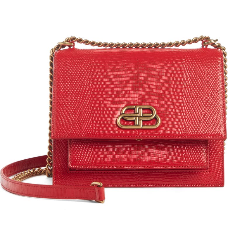 BALENCIAGA Sharp Reptile Embossed Lambskin Leather Shoulder Bag, Main, color, VIVID RED