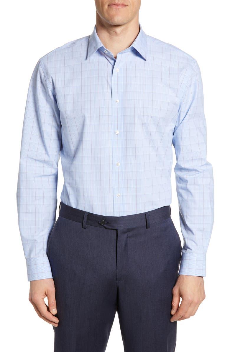 NORDSTROM MEN'S SHOP Tech Smart Traditional Fit Stretch Plaid Dress Shirt, Main, color, BLUE LUSTRE