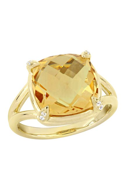 Image of Delmar Yellow Gold Plated Sterling Silver Citrine & White Topaz Stone Shank Ring