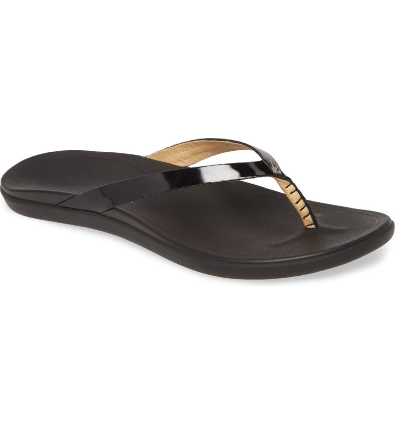 OLUKAI 'Ho Opio' Leather Flip Flop, Main, color, BLACK PATENT LEATHER