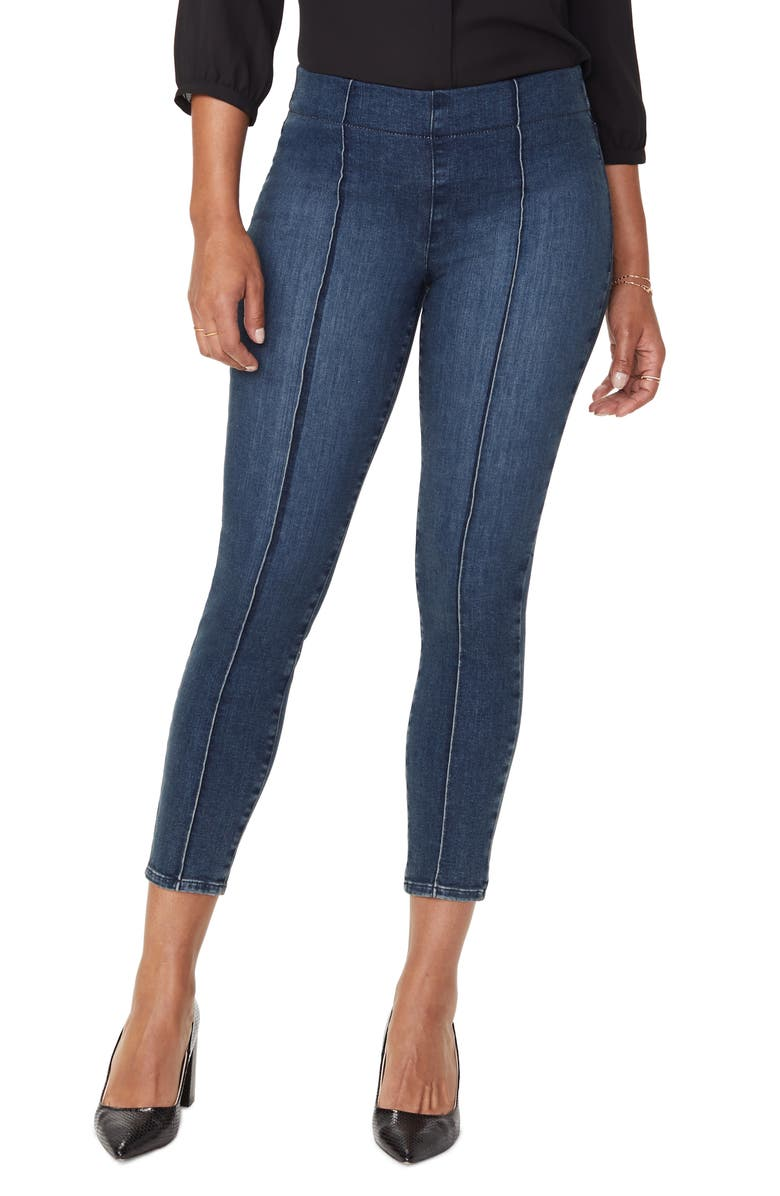 NYDJ Pintucked Pull-On Stretch Ankle Skinny Jeans, Main, color, HAHN