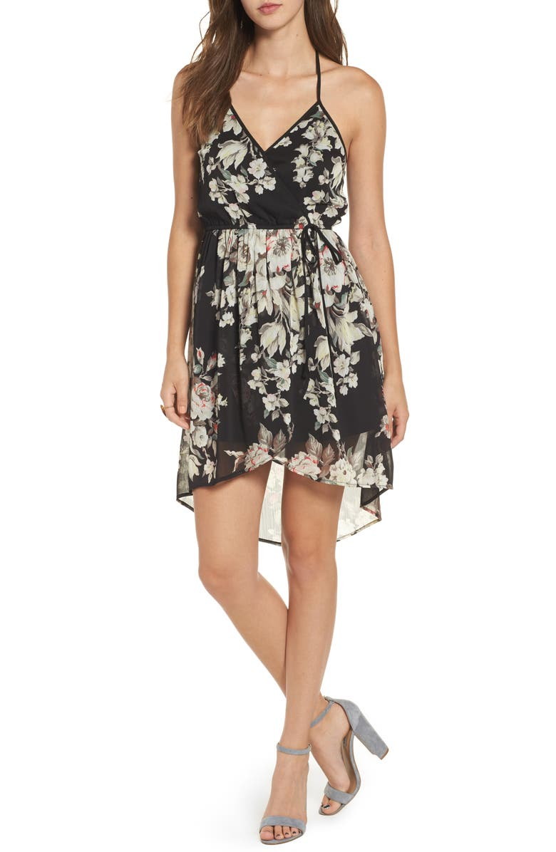 B.O.G. COLLECTIVE Band of Gypsies Floral Surplice High/Low Dress, Main, color, 002