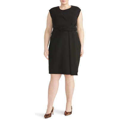 Plus Size Rachel Roy Collection Asymmetrical Twist Knit Dress, Black