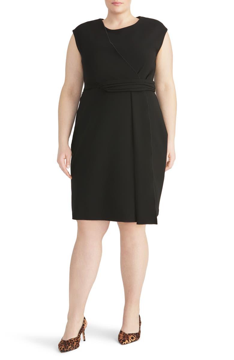 RACHEL ROY COLLECTION Asymmetrical Twist Knit Dress, Main, color, BLACK