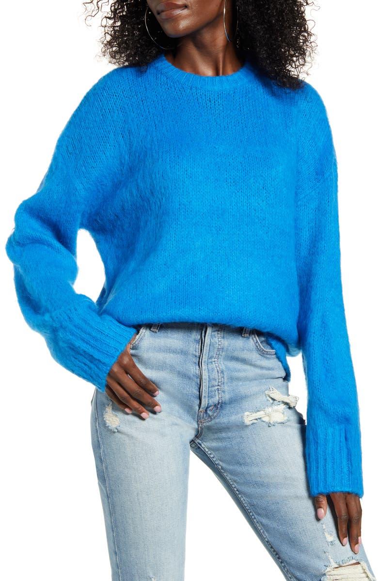 J.O.A. Oversized Sweater, Main, color, BLUE
