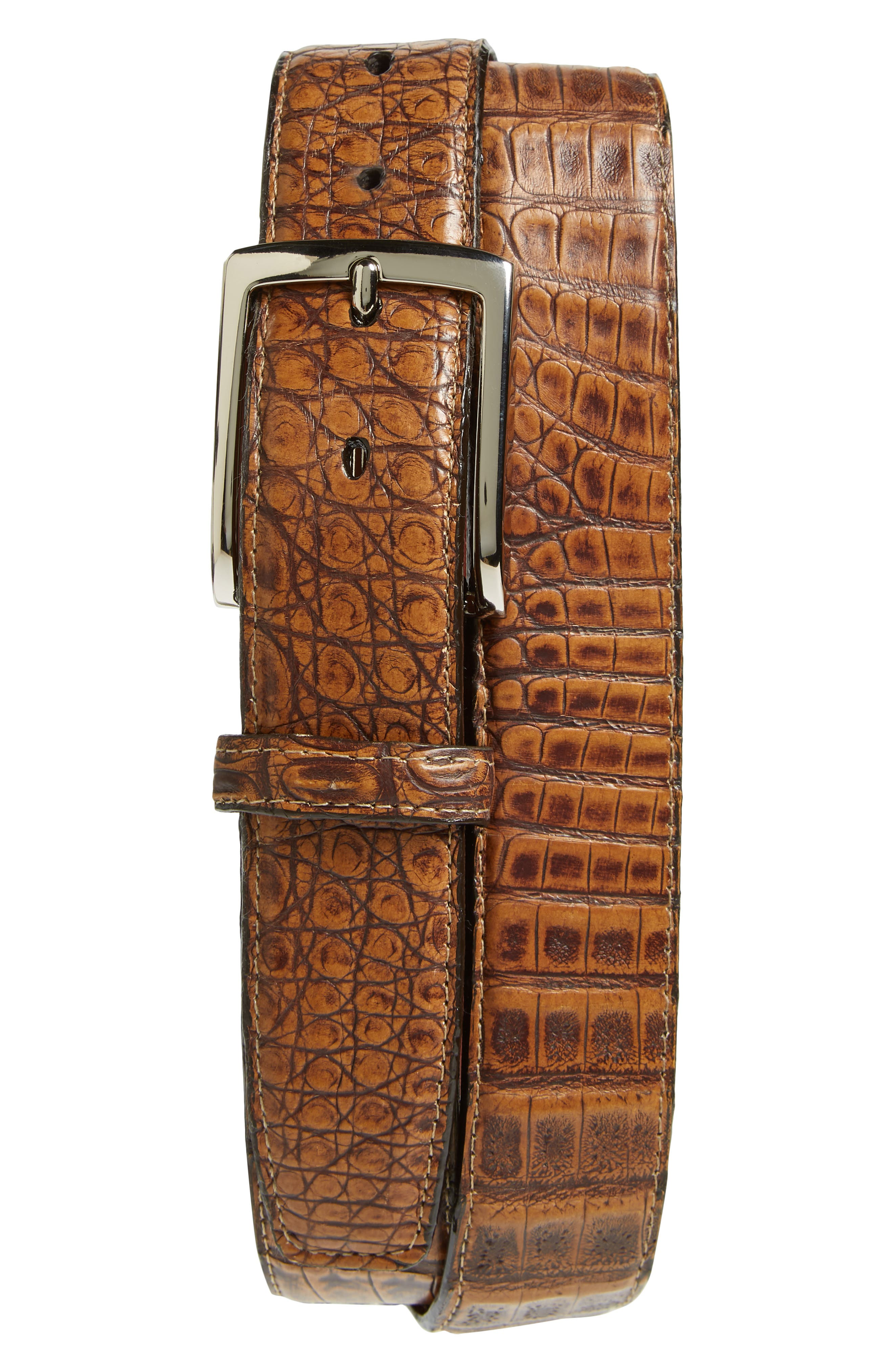 Caiman leather adds exotic texture to a belt fitted with high-shine hardware. Style Name: Torino Caiman Leather Belt. Style Number: 5940585. Available in stores.