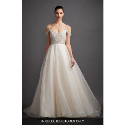 Lazaro Juliet Beaded Off The Shoulder Organza Wedding Dress, Size - Ivory