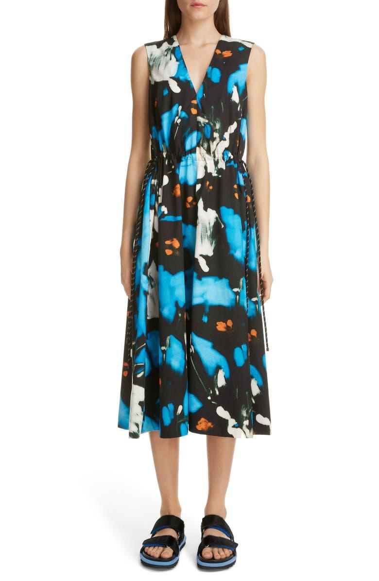 DRIES VAN NOTEN Dampin Splash Floral Print Cotton Dress, Main, color, 400