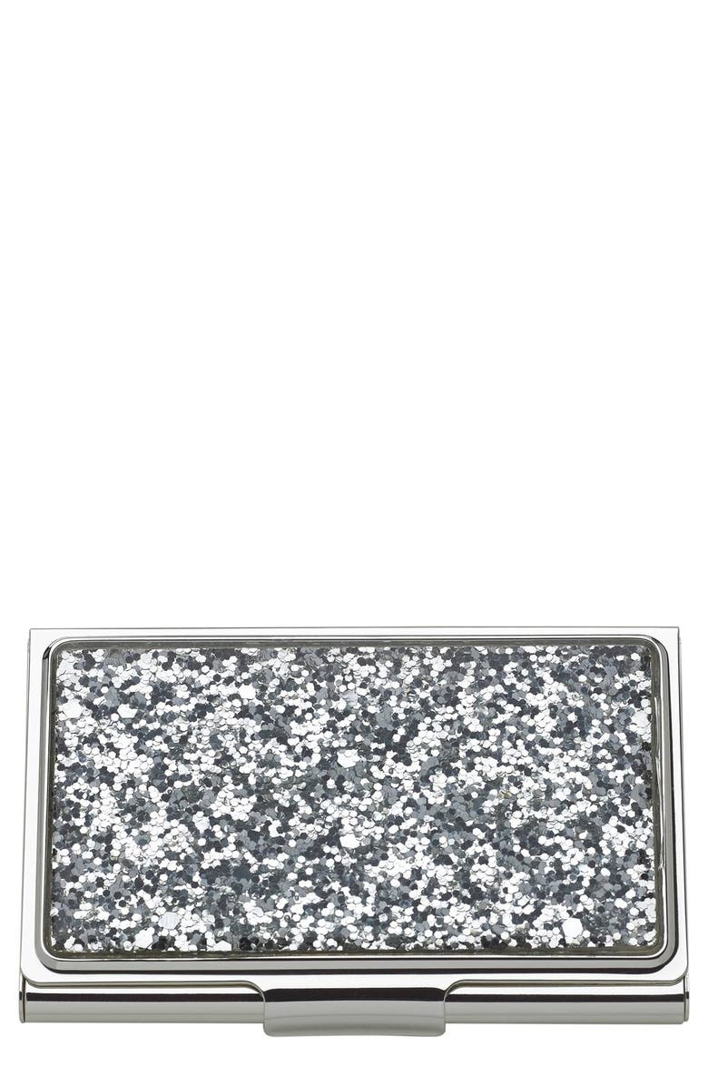 KATE SPADE NEW YORK glitter business card holder, Main, color, 046