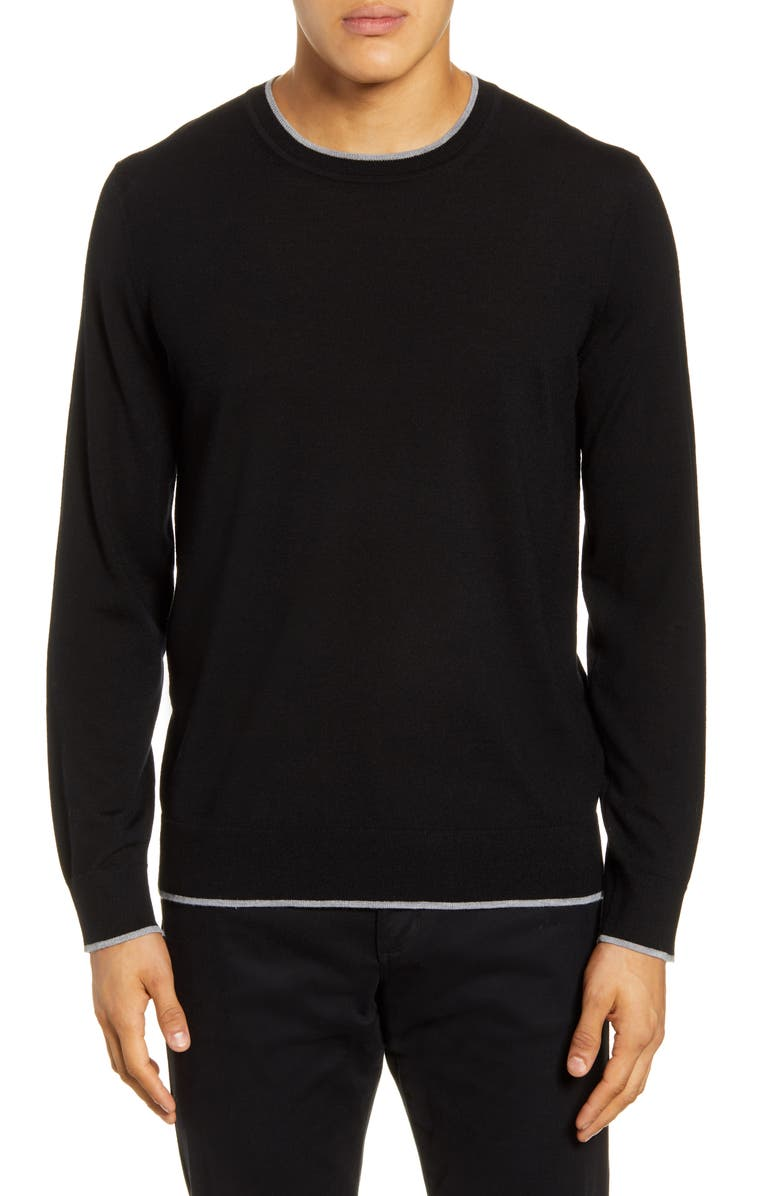 THEORY Regal Tipped Wool Crewneck Sweater, Main, color, BLACK/ COOL HEATHER