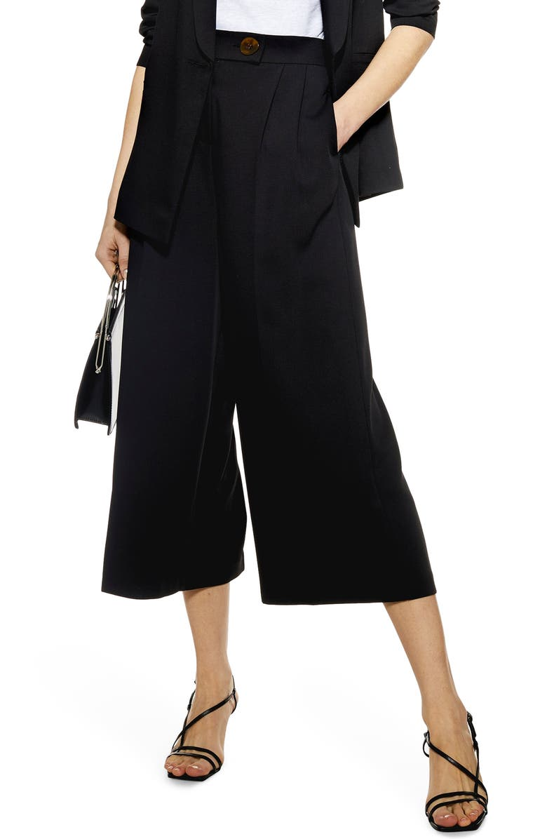 TOPSHOP Rita Cropped Wide Leg Trousers, Main, color, 001