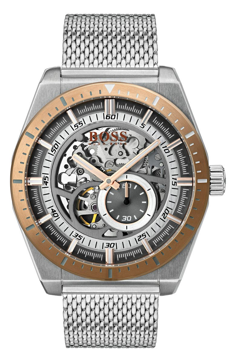 BOSS Signature Timepiece Collection Automatic Mesh Bracelet Watch, 44mm, Main, color, SKELETON/ STAINLESS STEEL