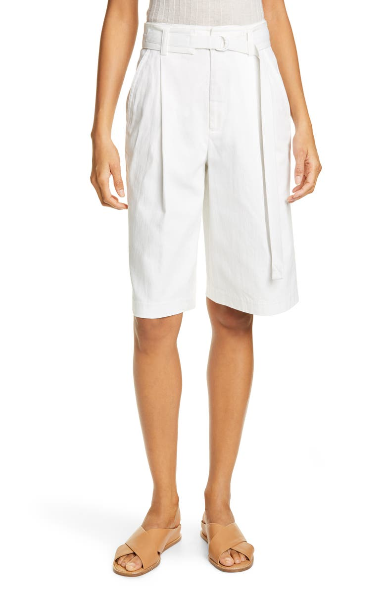 VINCE Belted Stretch Cotton & Linen Blend Shorts, Main, color, OFF WHITE