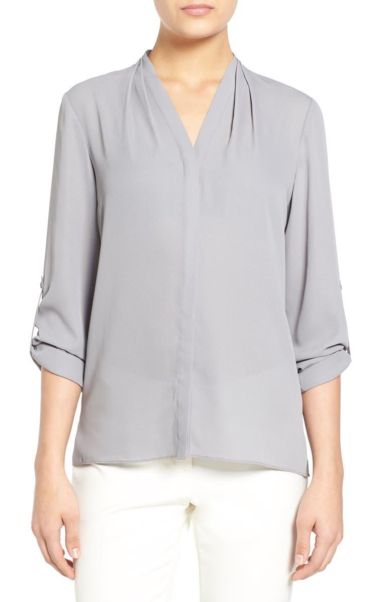 T TAHARI 'Taylor' Roll Sleeve Blouse, Main, color, 040