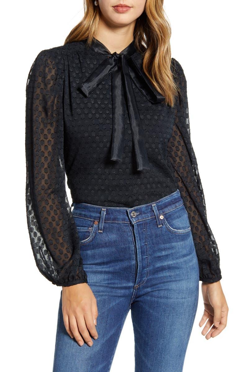 RACHEL PARCELL Textured Dot Bow Blouse, Main, color, BLACK