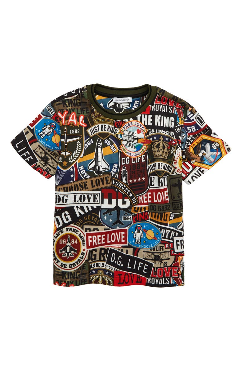DOLCE&GABBANA Manica Corta Graphic T-Shirt, Main, color, MILITAR PATCH F.MULT