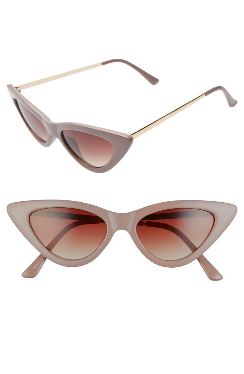 BP. Perfect 53mm Cat Eye Sunglasses, Main, color, MILKY/ BURGUNDY