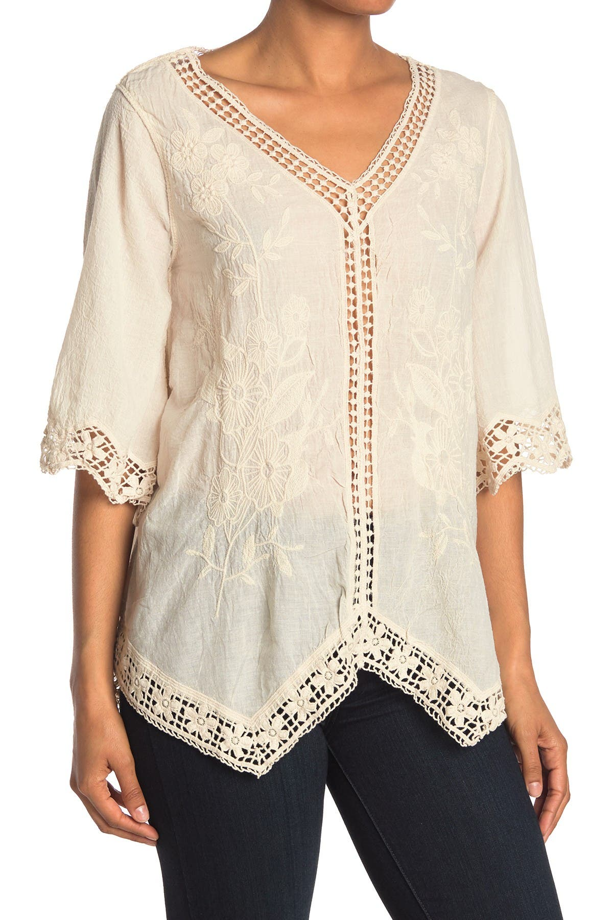 Image of Forgotten Grace V-Neck Asymmetrical Hem Blouse