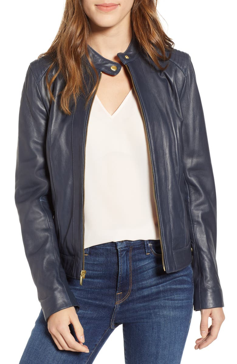 COLE HAAN Leather Moto Jacket, Main, color, NAVY