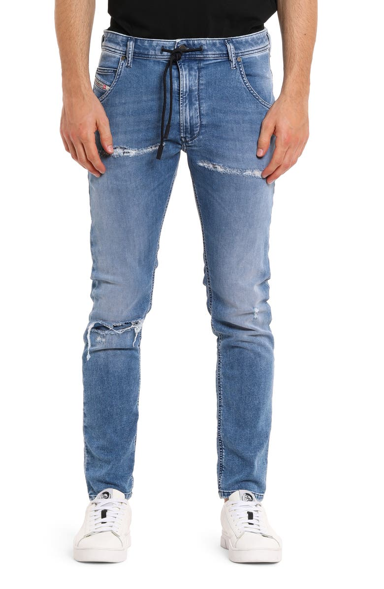 DIESEL<SUP>®</SUP> Krooley Jogg Shredded Slim Straight Jeans, Main, color, 400