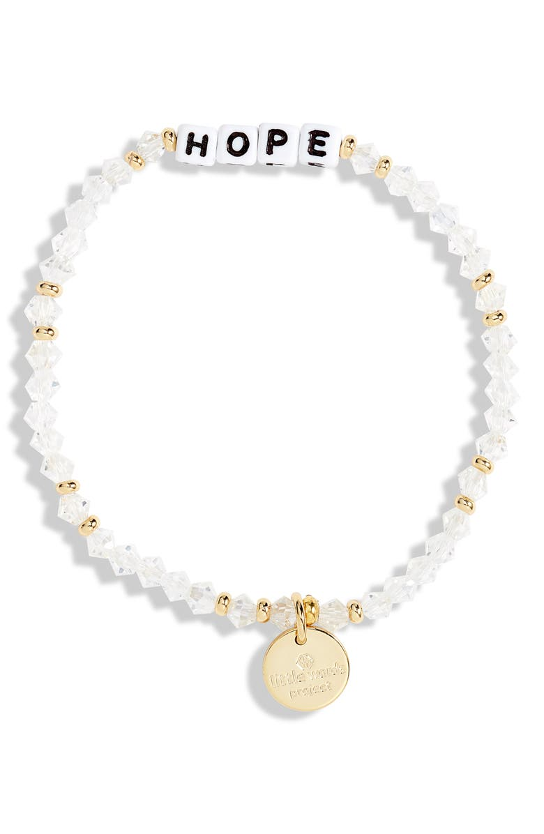LITTLE WORDS PROJECT Hope Beaded Stretch Bracelet, Main, color, CLEAR/ WHITE