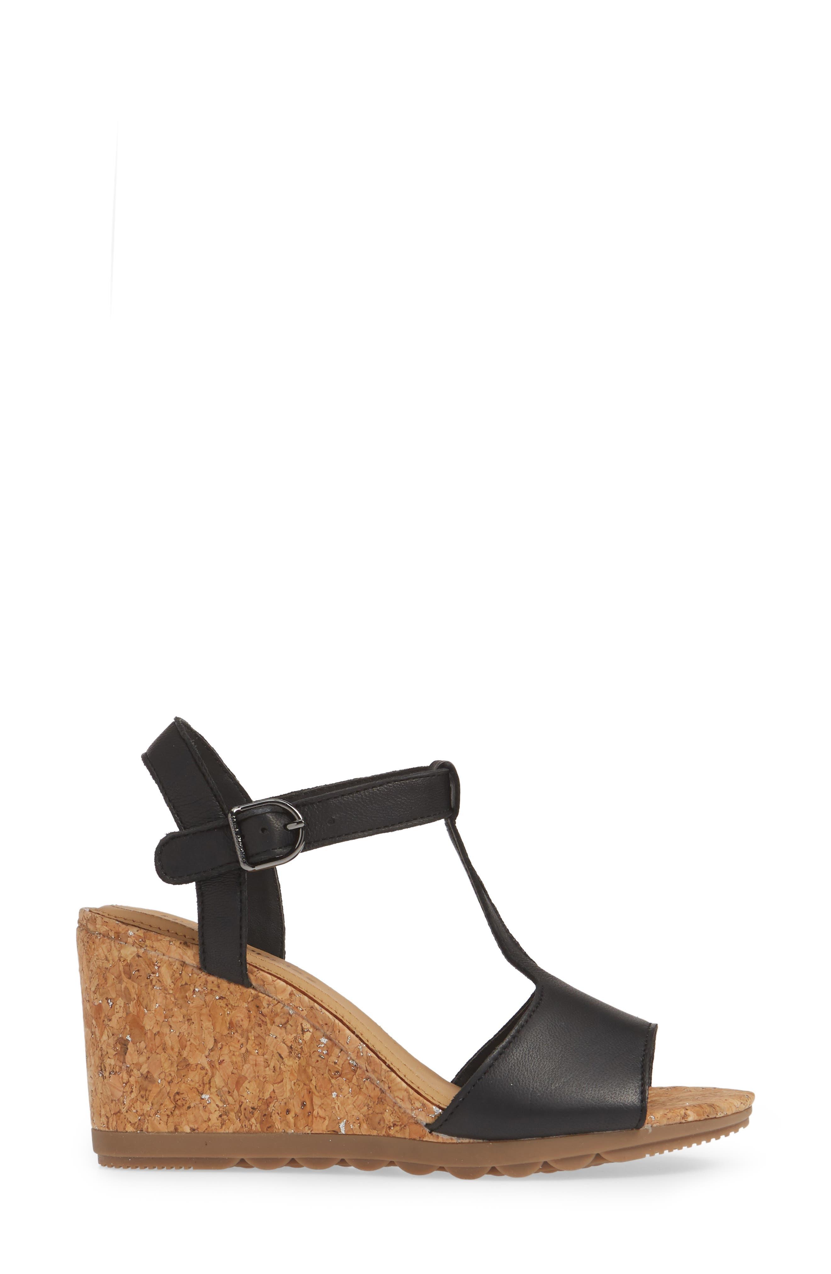 ,                             Pekingese Wedge Sandal,                             Alternate thumbnail 3, color,                             BLACK LEATHER