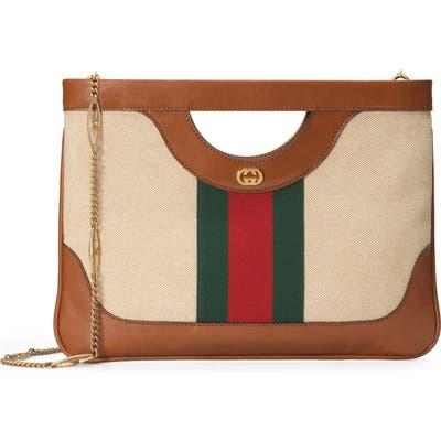 Gucci Gg Vintage Canvas & Leather Shoulder Bag - Beige