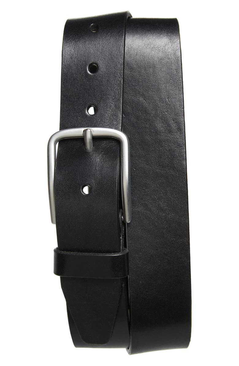NORDSTROM MEN'S SHOP Rhodes Leather Belt, Main, color, BLACK