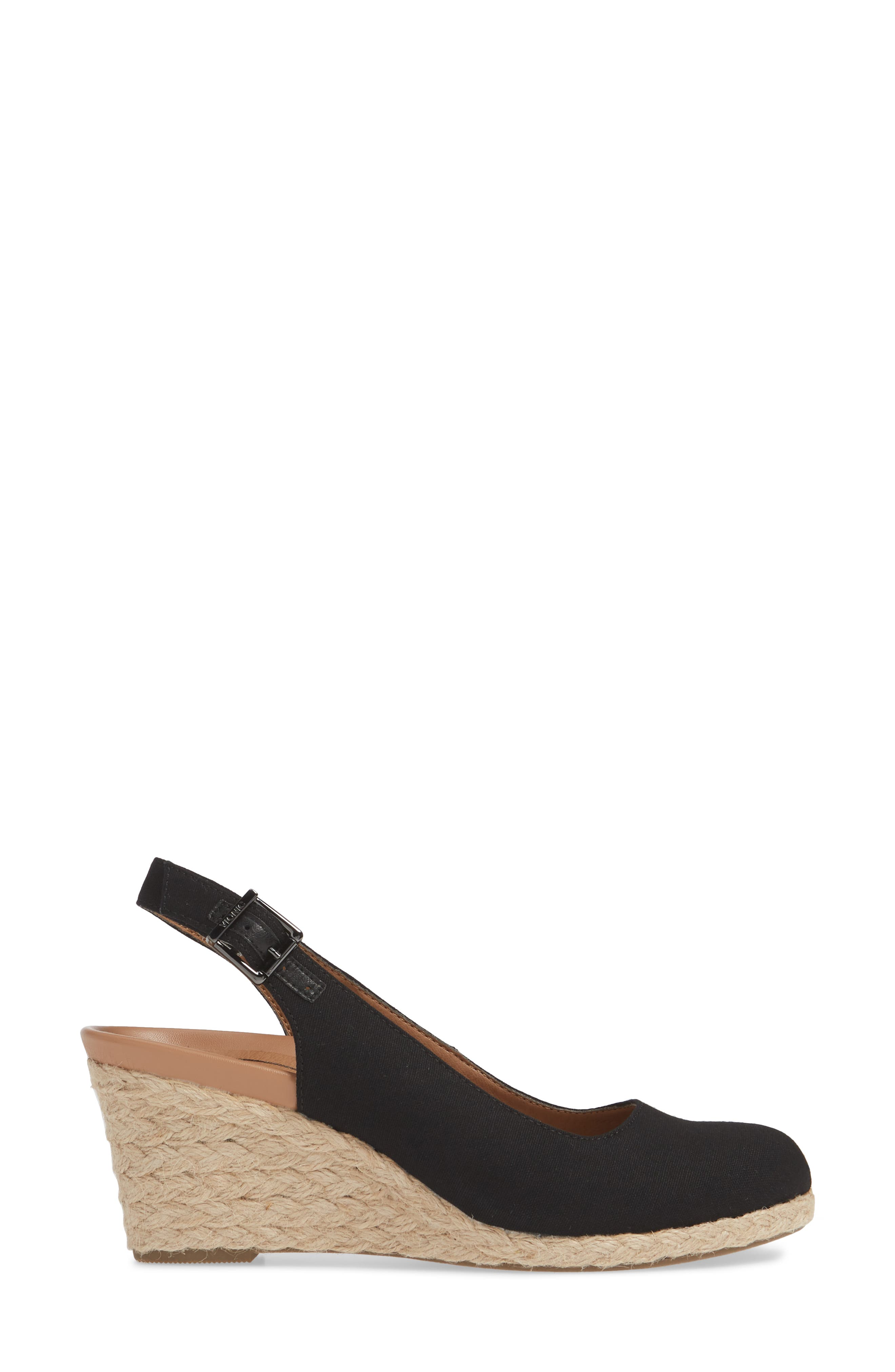 ,                             Coralina Orthaheel<sup>®</sup> Espadrille Wedge Slingback Sandal,                             Alternate thumbnail 3, color,                             BLACK CANVAS