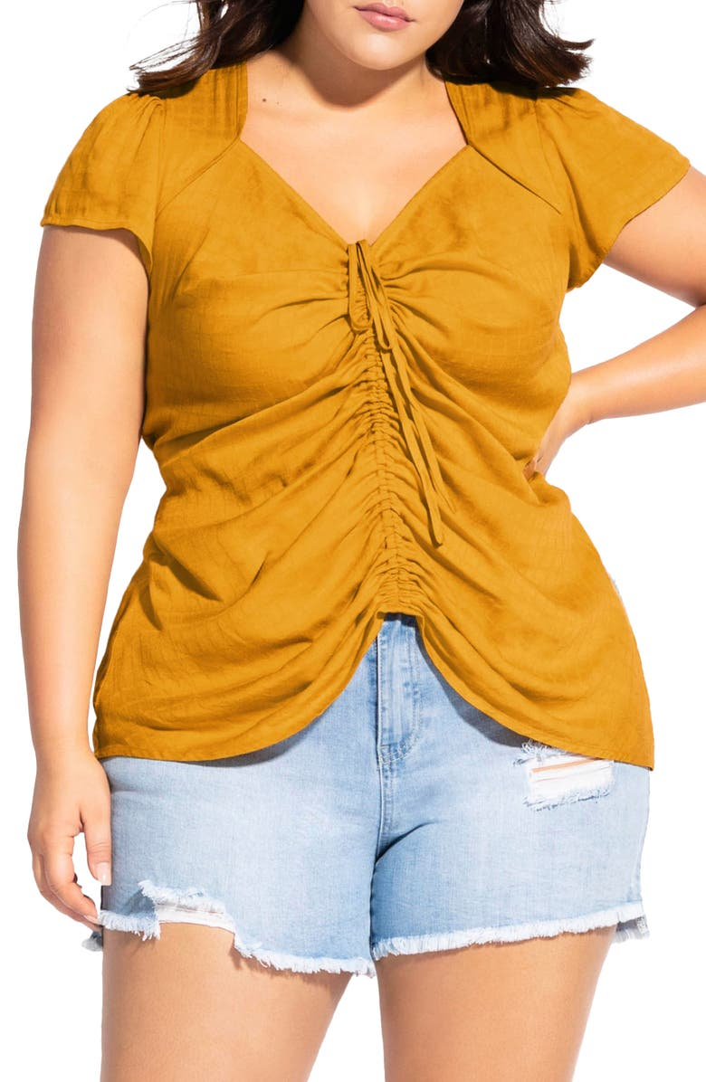 CITY CHIC Sweet Gathered Top, Main, color, GOLD