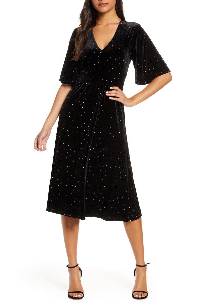 LEOTA Gold Dot Velvet A-Line Dress, Main, color, 002