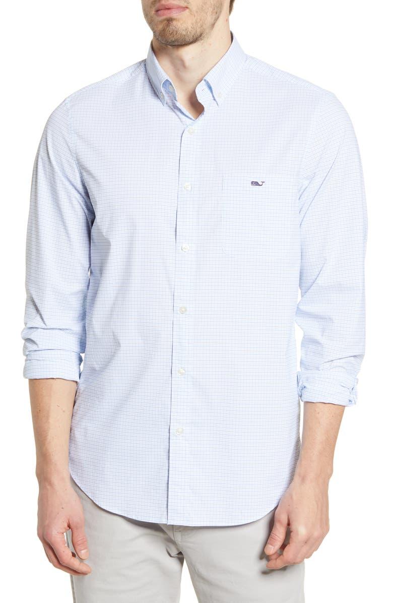 VINEYARD VINES Tucker Classic Fit Button-Down Performance Shirt, Main, color, AZURE BLUE