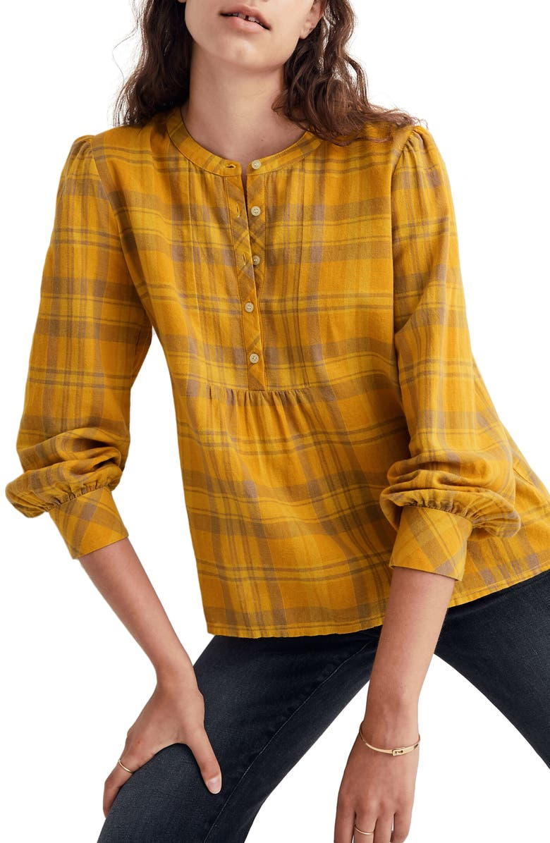 MADEWELL Flannel Leysfield Popover Shirt, Main, color, BEDBROOK PLAID MYSTIC YELLOW