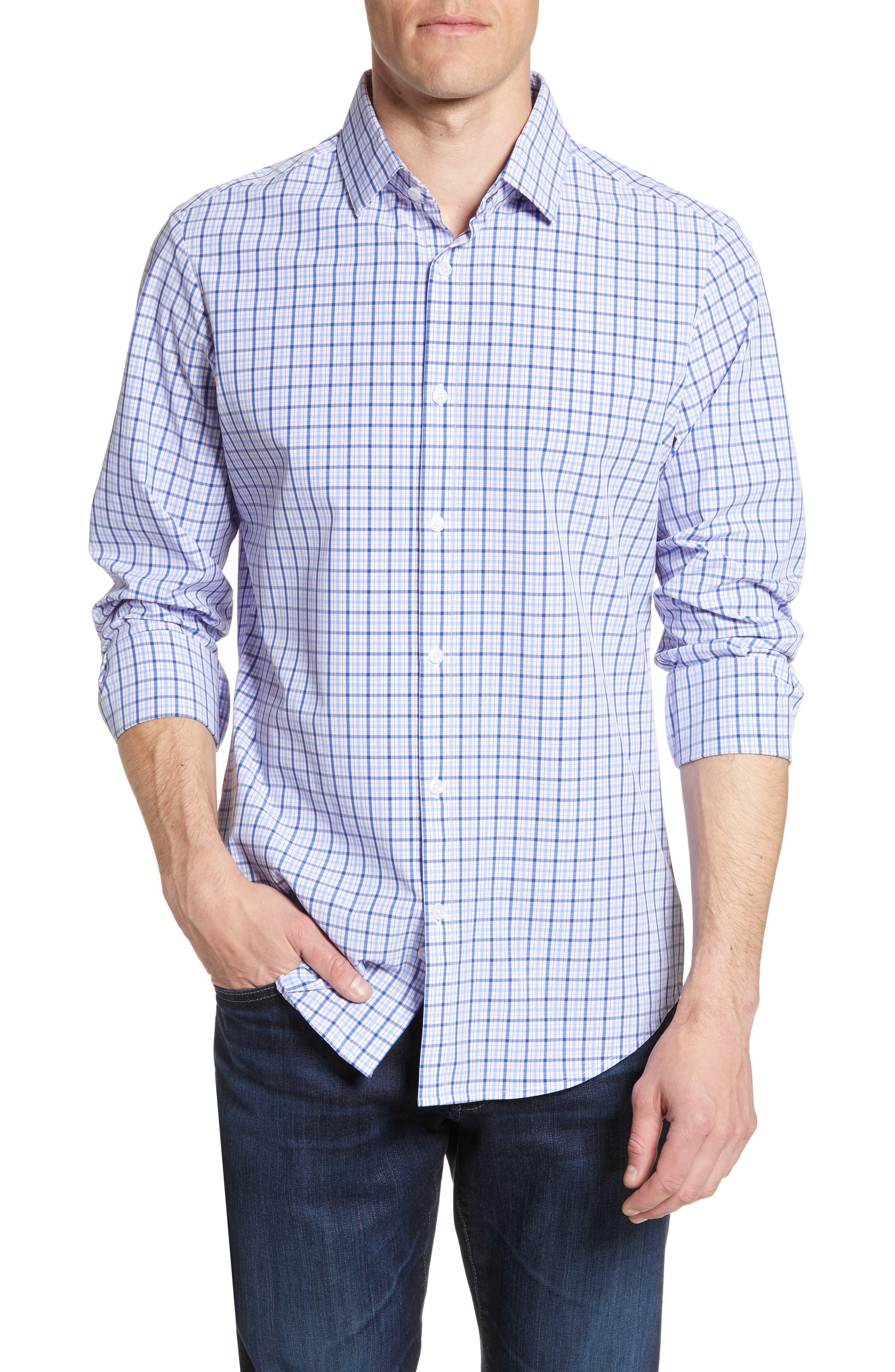 Mizzen+Main Robbins Regular Fit Plaid Performance Sport Shirt, Blue