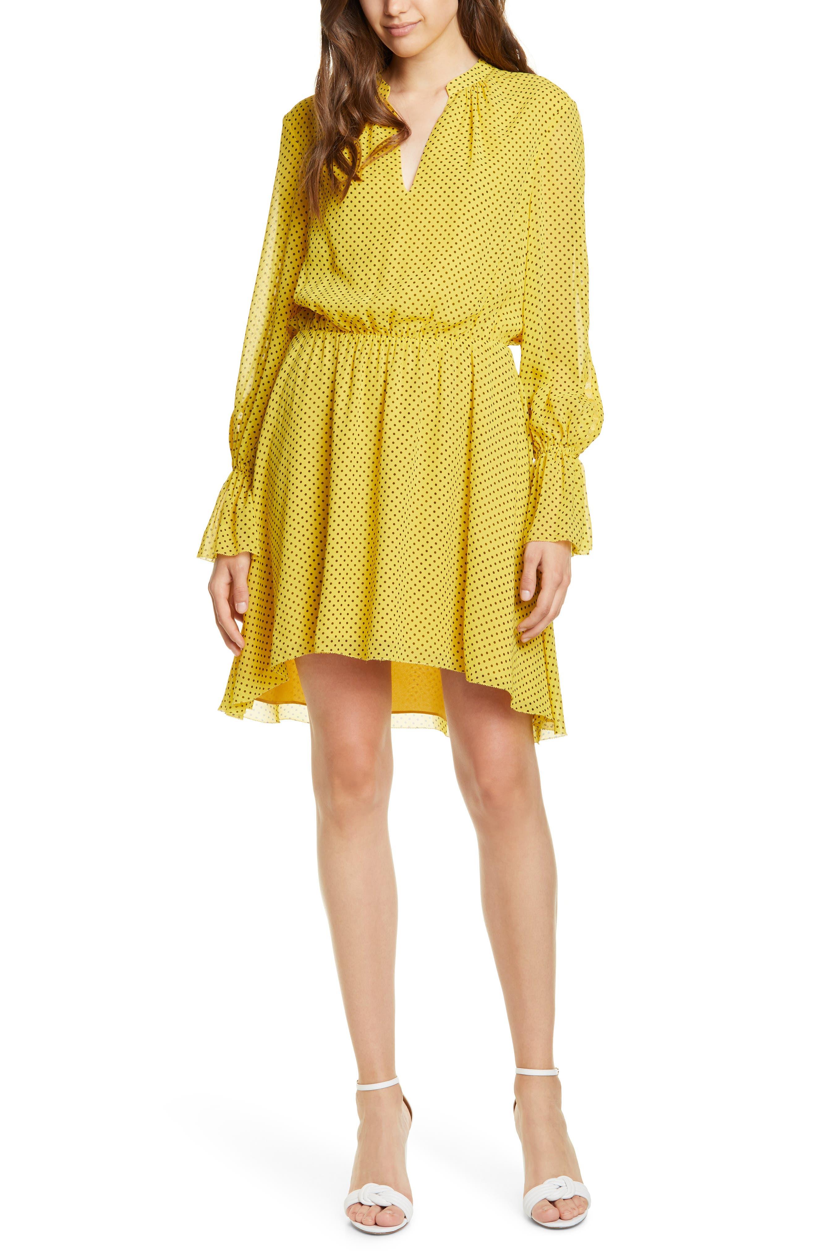 Joie Daevon Long Sleeve Silk Dress, Yellow