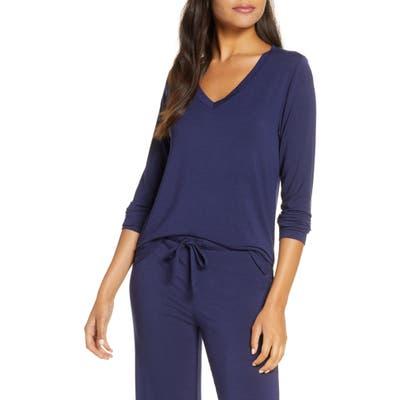 Nordstrom Moonlight V-Neck Long Sleeve Pajama Top, Blue