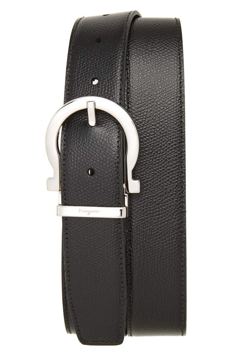 SALVATORE FERRAGAMO Reversible Leather Belt, Main, color, BLACK/ HICKORY