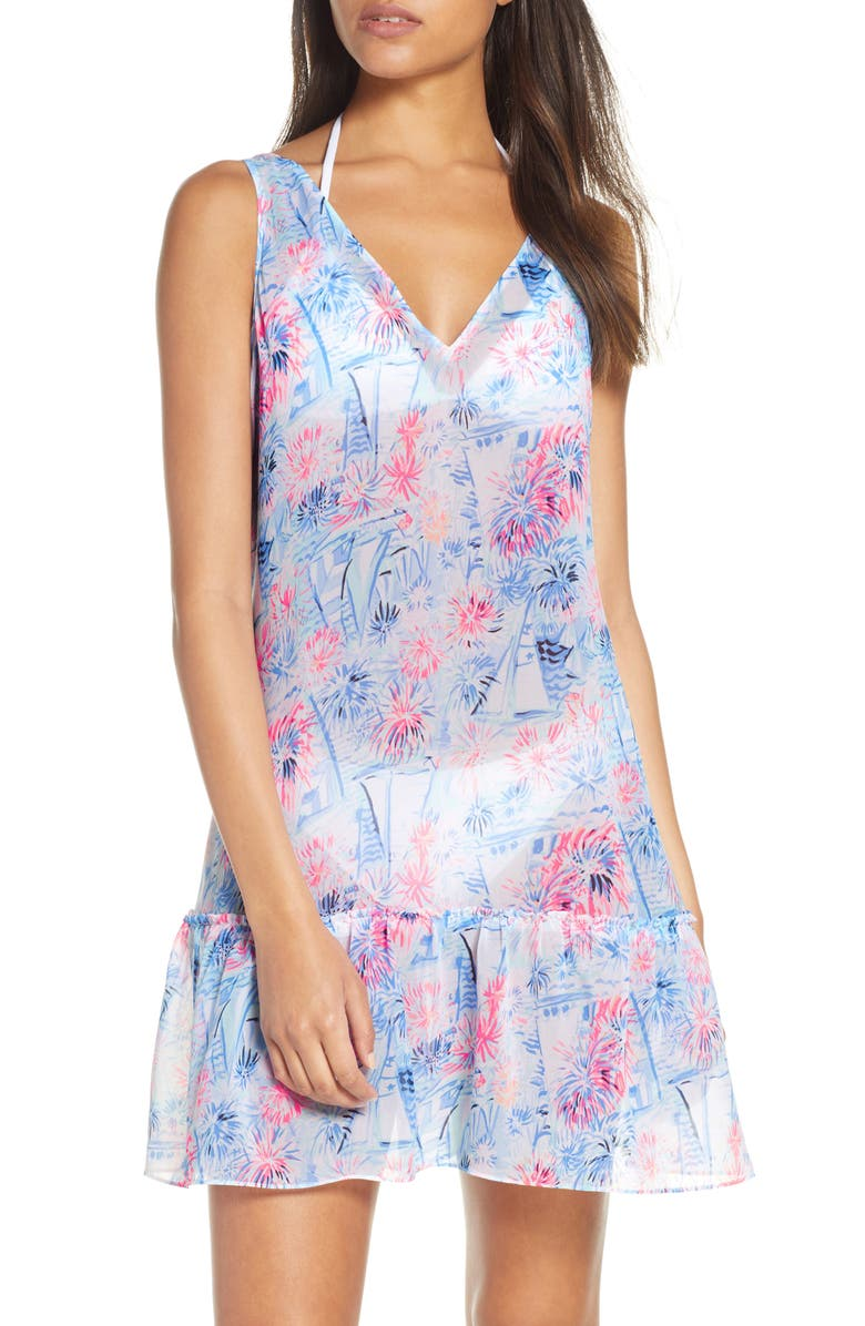 LILLY PULITZER<SUP>®</SUP> Saline Cover-Up Mini Dress, Main, color, 400