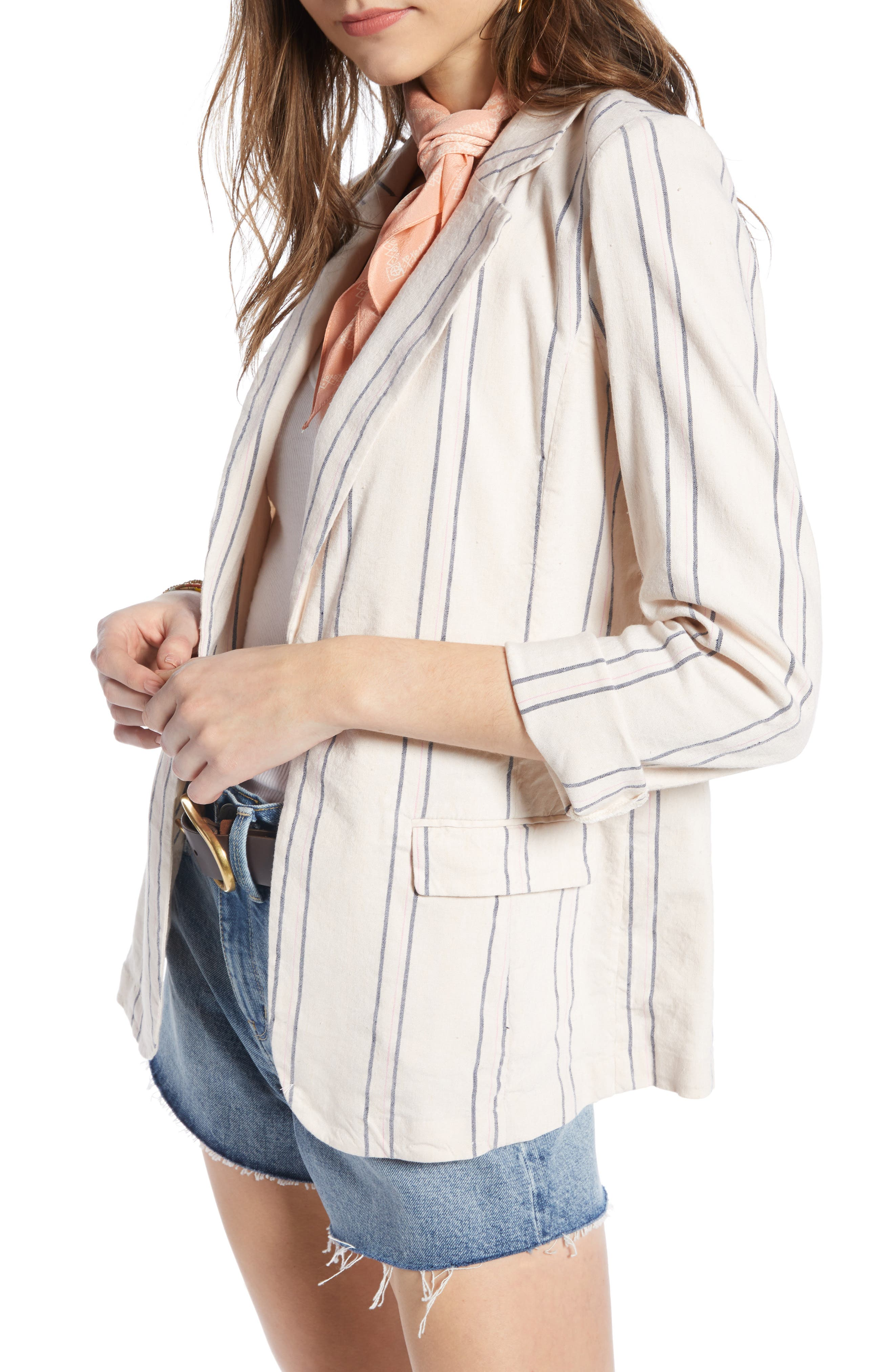 ,                             Stripe Relaxed Blazer,                             Alternate thumbnail 6, color,                             BEIGE BURNT EMMA STRIPE