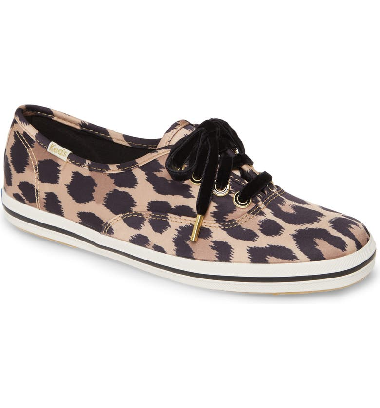 KEDS<SUP>®</SUP> FOR KATE SPADE NEW YORK Keds<sup>®</sup> x kate spade new york champion leopard spot satin sneaker, Main, color, TAN MULTI