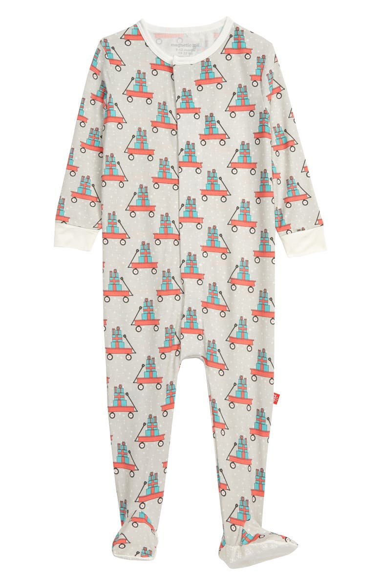 MAGNETIC ME Lil' Red Wagon Footie, Main, color, GREY